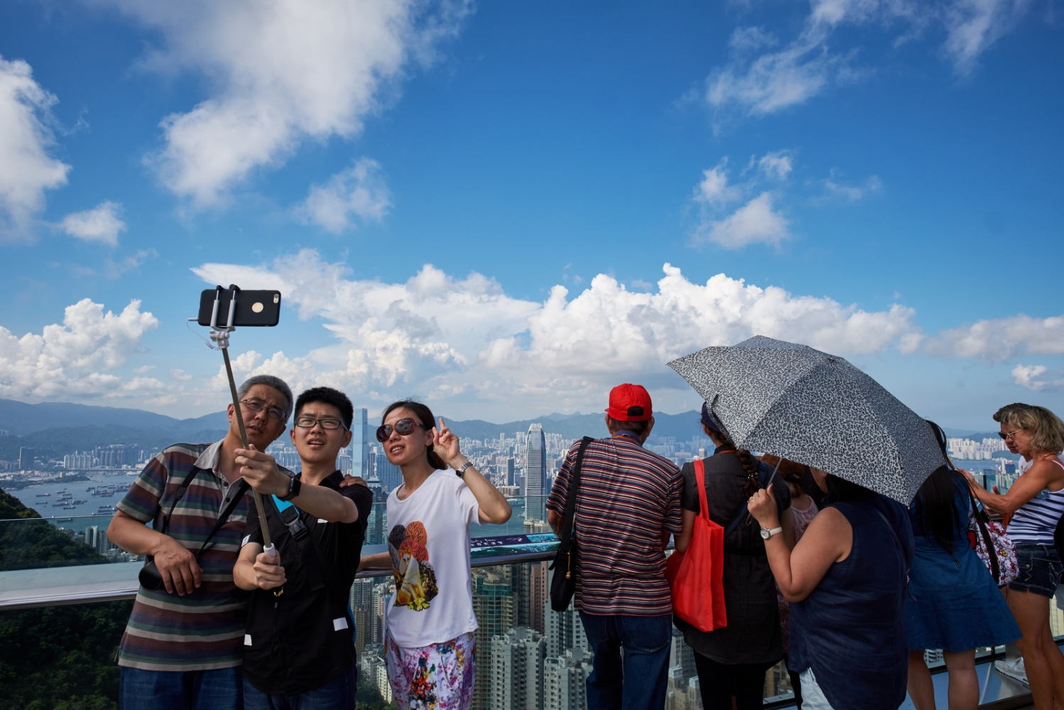 Tourists at Victoria Peak, Hong Kong.