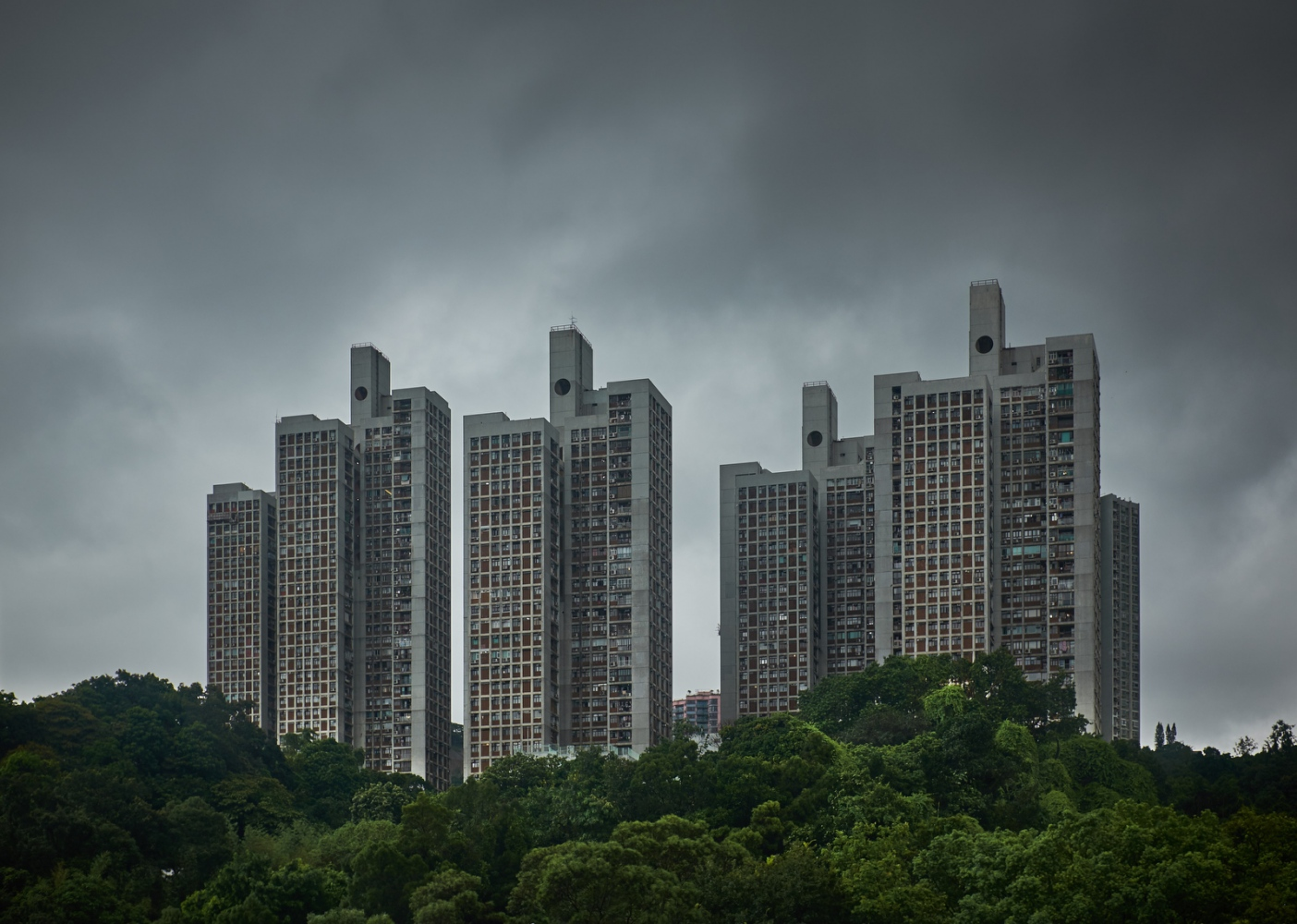 High-rise apartment buildings in the New Territories, Hong Kong.