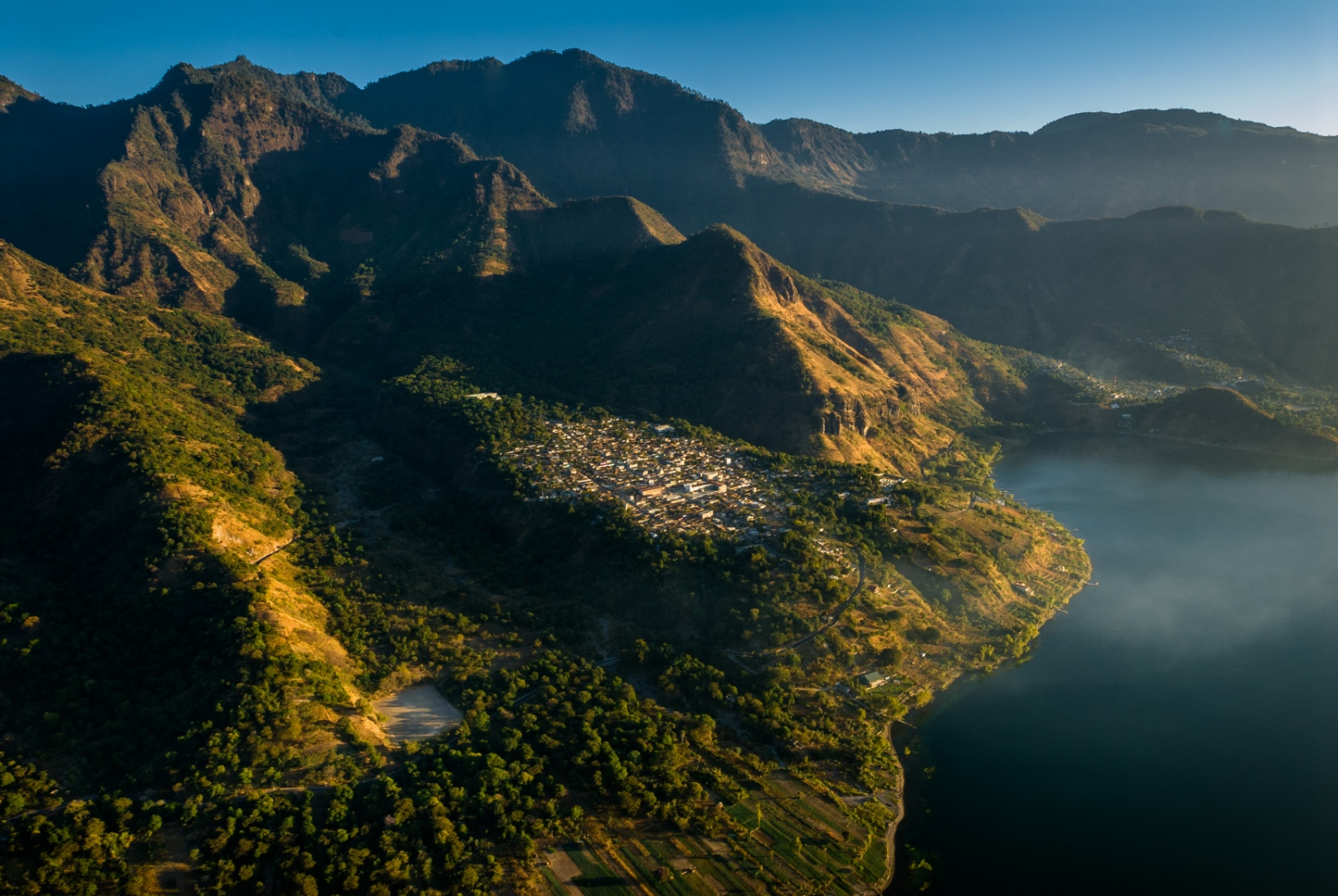 The town of San Pablo La Laguna on the shores of Lake Atitlán, Guatemala.