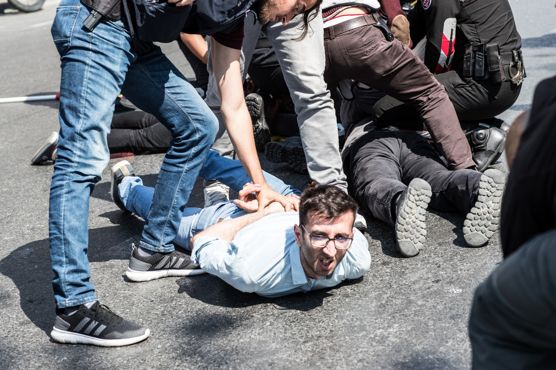 People tried to march to Taksim Square, in...