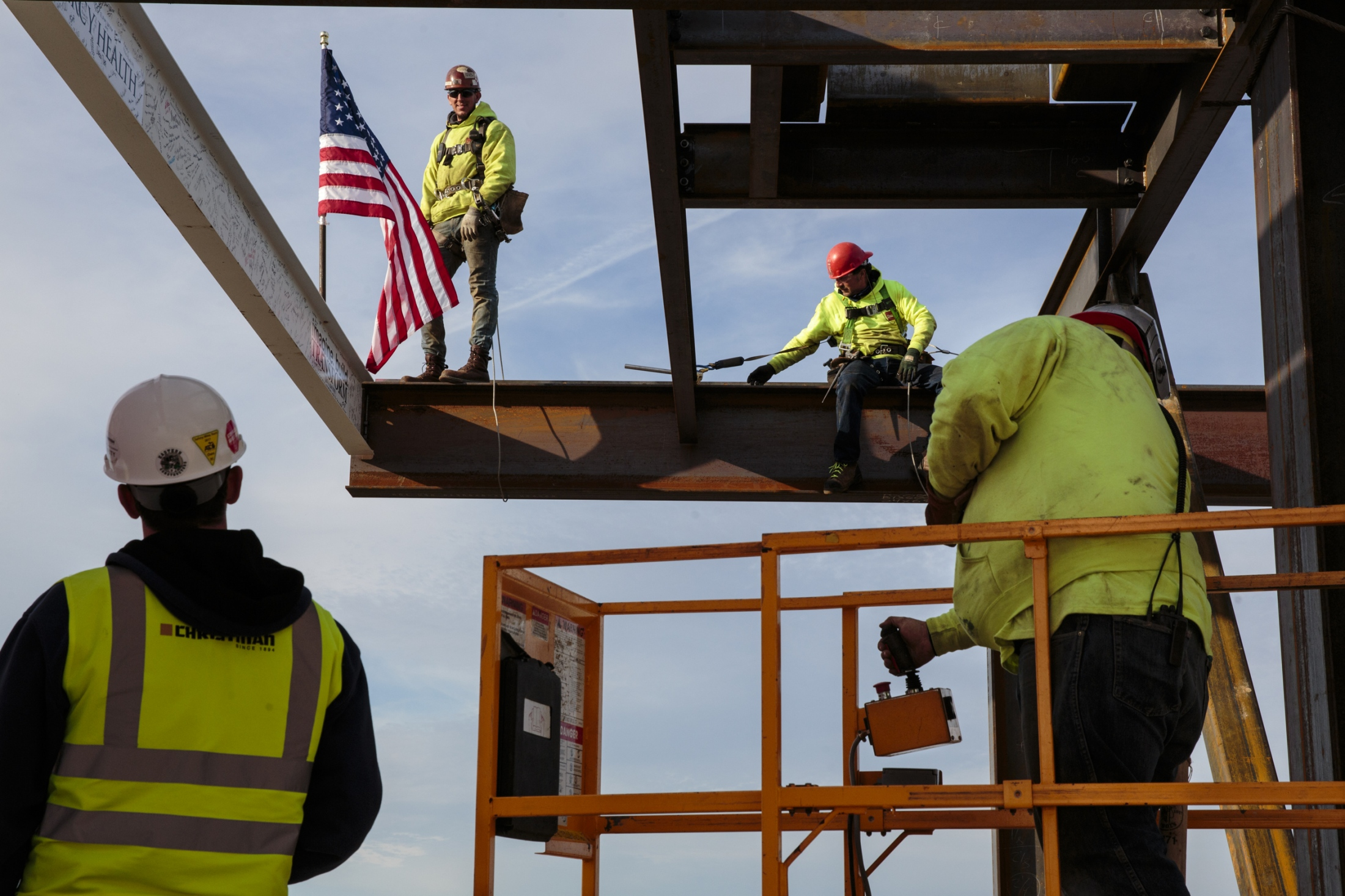 Crews put the last structural beam is put into place at the construction site at the 10-story Mercy Health medical center on Oct. 26, 2017 at the Mercy Health Mercy Campus in Muskegon, Mich. The $271 million dollar project is expected to be completed in the summer of 2019. The center will have an estimated 267 beds.
