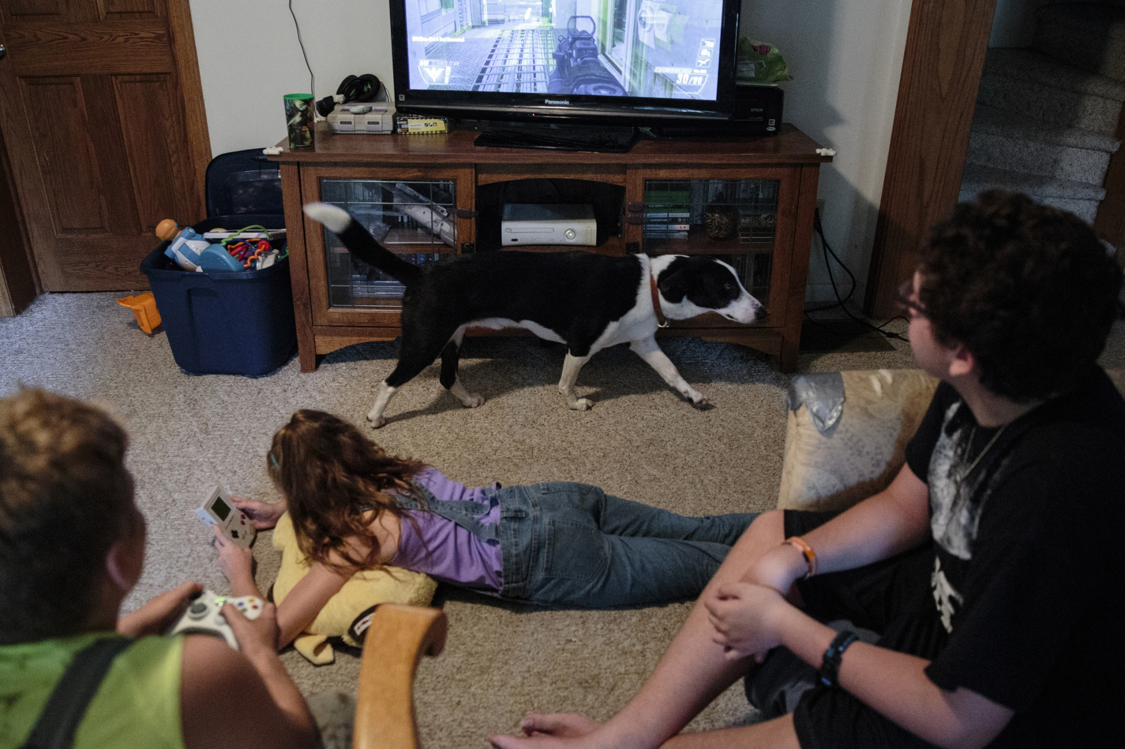 Chad's six-year-old dog Spudz passes Harkin, Mackenzie, and their older brother Logan Bartlett, 14, as they play video games in the living room. During the weekdays, everything falls onto Chad's shoulders. He said his biggest challenge is juggling his 50-hour-per-week trucking job and taking care of the animals by himself when the siblings are at their mother's in Allendale, Michigan.