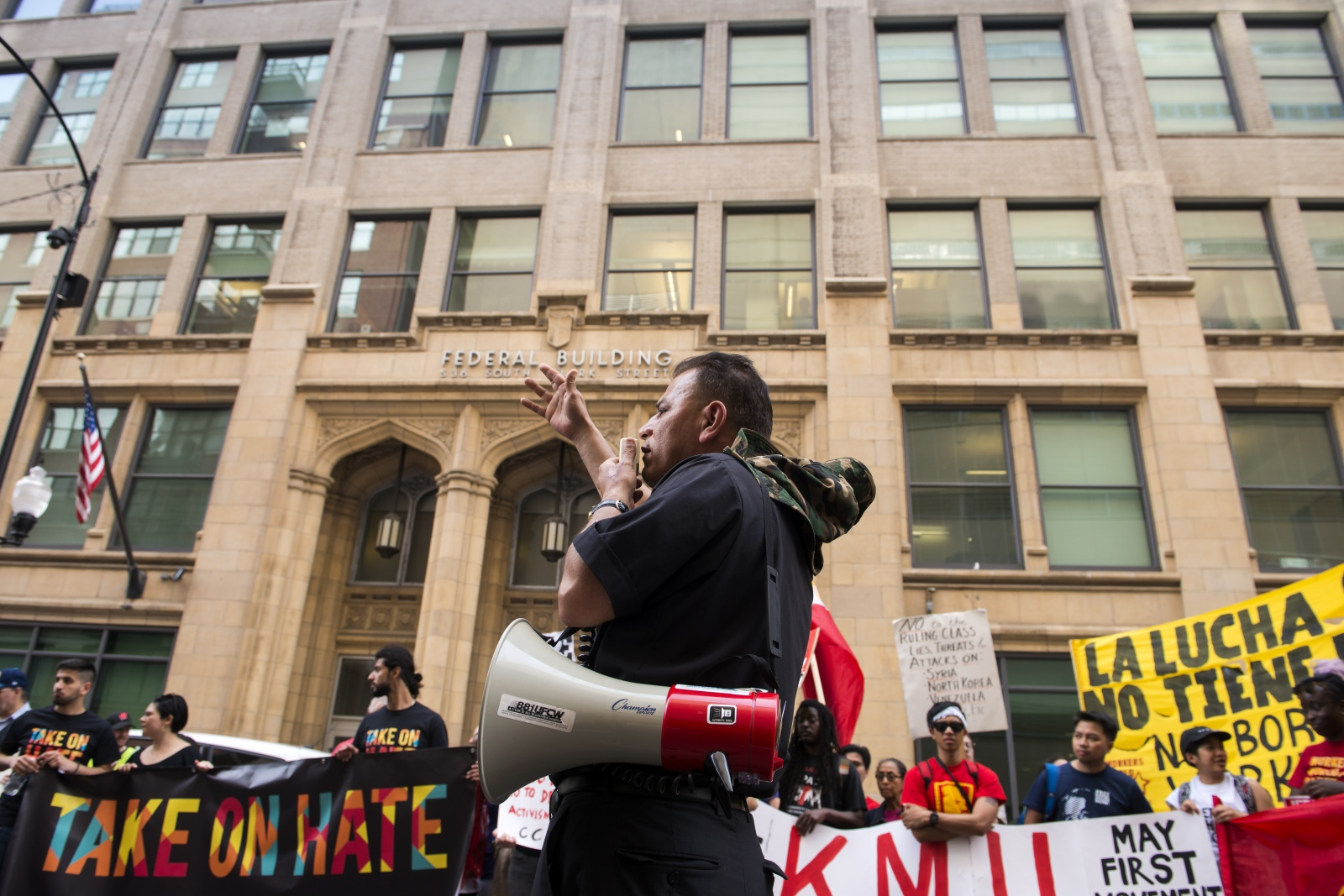 Photography image - 5.01.2018 - Chicago May Day rally began at the Haymarket memorial and  ended in front of I.C.E. building