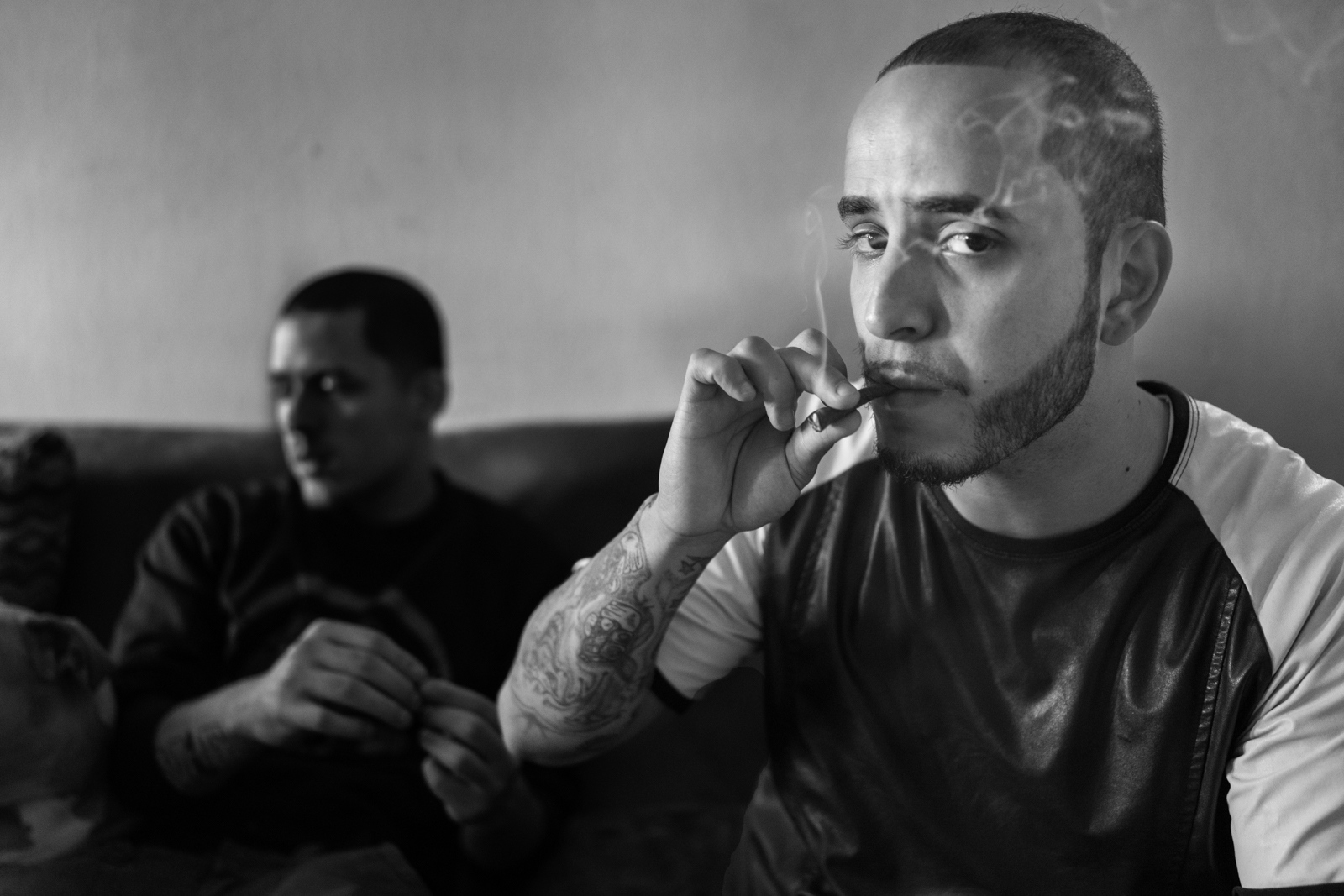 Demetrius smokes a joint of marijuana at his apartment in Brooklyn, Demetrius was released from jail 1 month ago after spending 3 years incarcerated.
