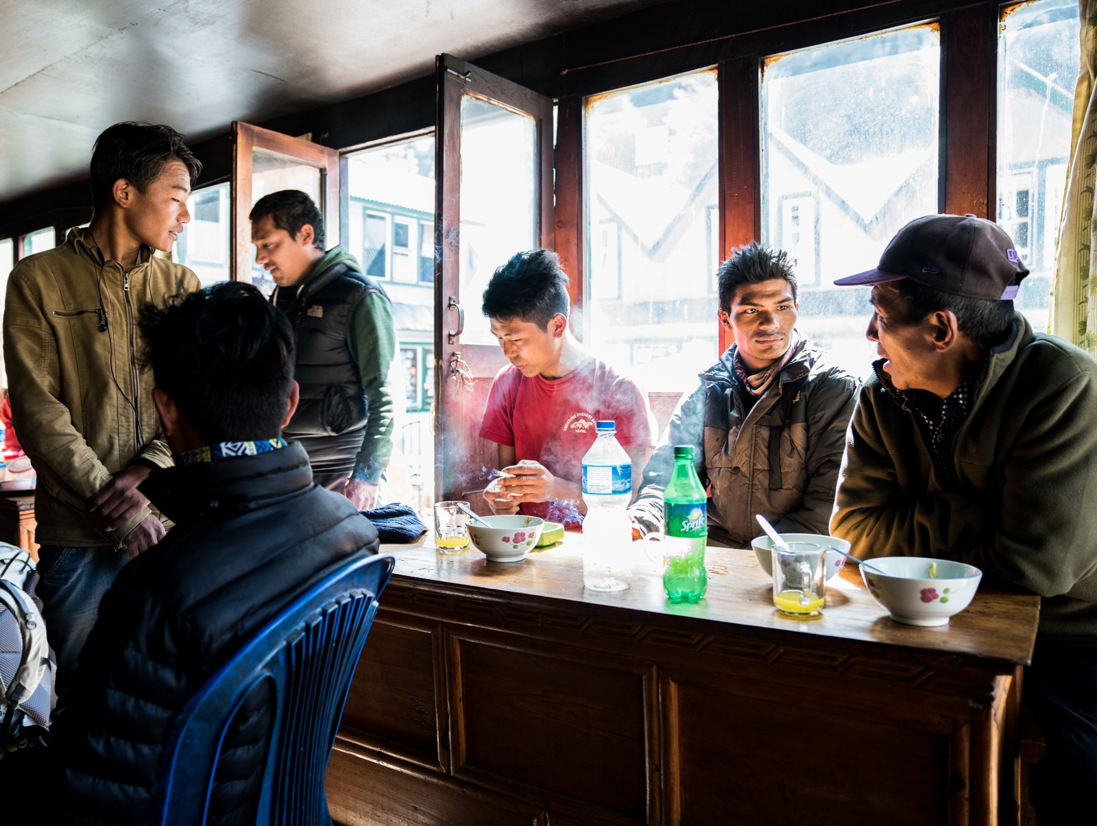 A tea and noodle stop for local porters and guides. These restaurants are separate from the tourist lodges where prices are extremely high and aimed only at foreigners.