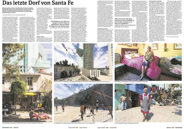 Jungle World . Das letzte dorf Santa Fe. Printed version of German newspaper Jungle World.19  April 2018. Germany.