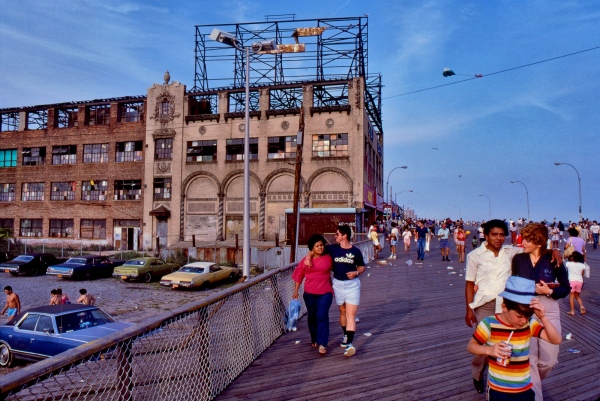 Coney Island boardwalk in summer