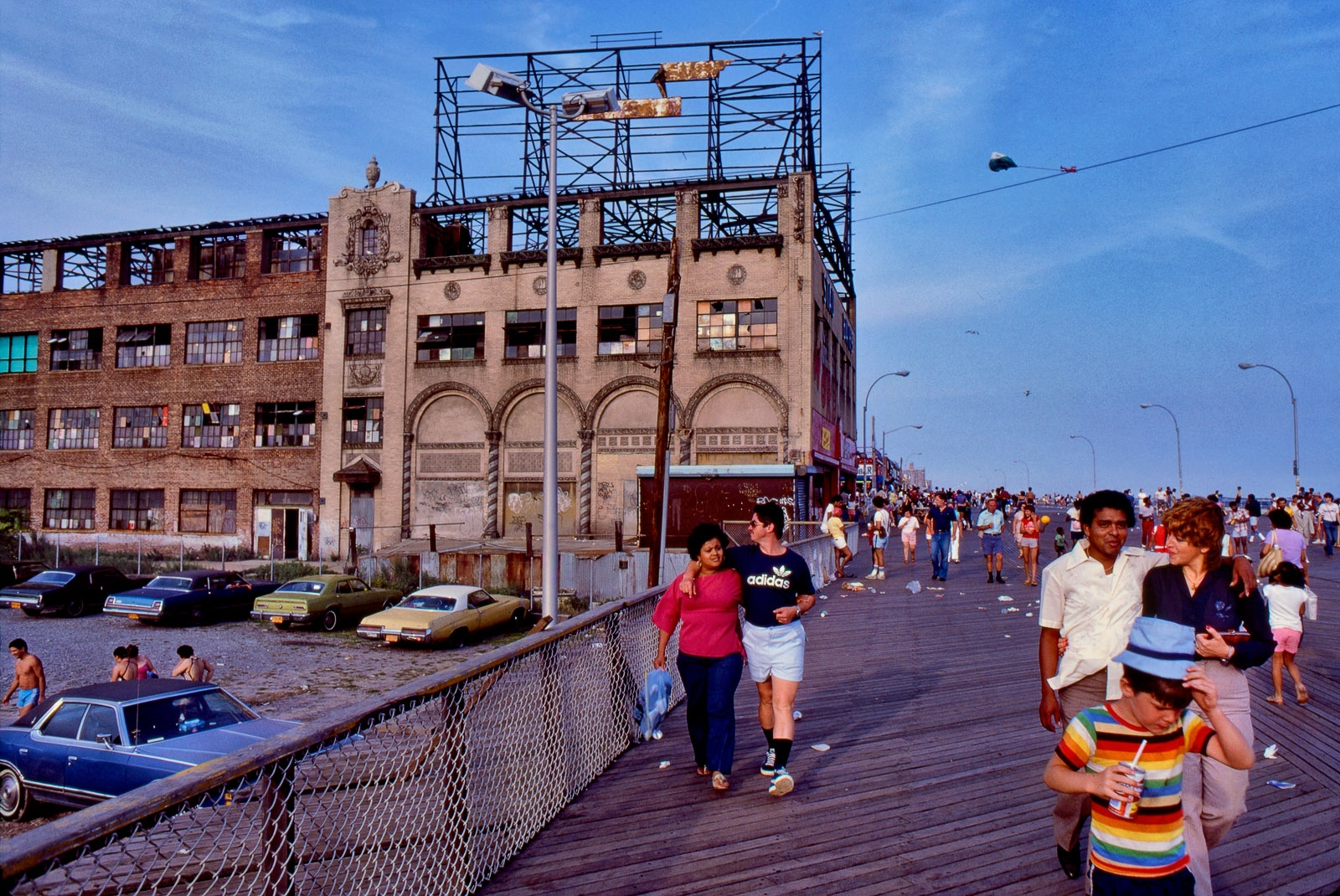Coney Island boardwalk in summer