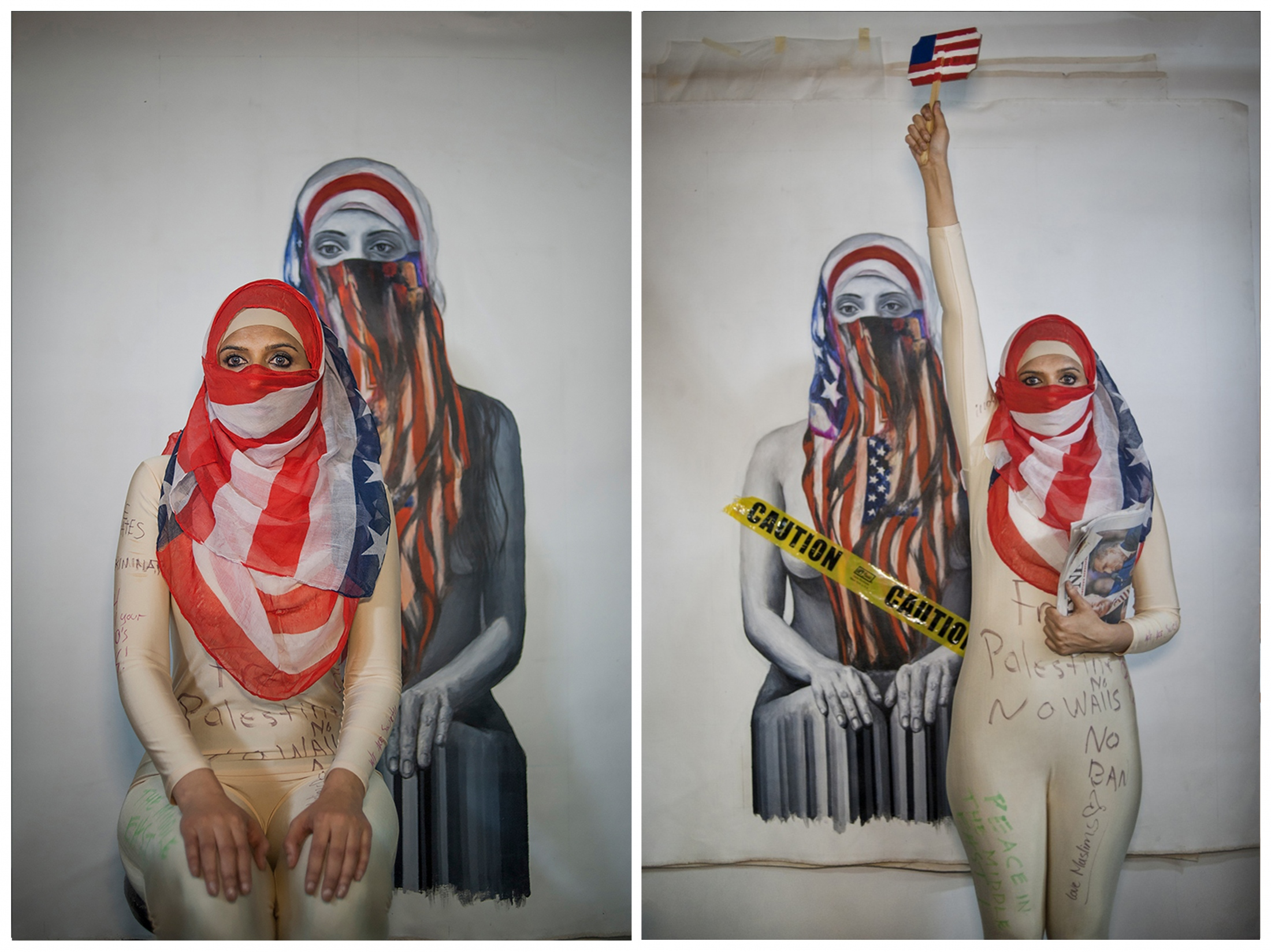 "Qinza Najm is a Pakistani American painter known for bodies of work such as ""Islamic Graffiti"" and large scale paintings of Muslim women wearing hijabs. Her work has been exhibited at Dubai's Christie's Art, Miami Art Basel, and Sikka Art Dubai. On Valentine's Day 2017, Najm held a fashion show at White Box NYC gallery responding to President Trump's travel ban. She and models from each of the seven Muslim nations affected walked the runway posing as Statues of Liberty in hijabs. Najm said she is still extremely disturbed and trying to ""accept reality"" in U.S. politics. But she also said there is a positive: more people are getting united. ""At the fashion show, people couldn't stop clapping -- they were crying. I was here during September 11th, and everyone had said 'Muslims are bad.' Here, they had so much empathy. When they were writing comments on the bodysuits, they were writing on the souls of Muslim people, saying 'We are standing next to you.'"""