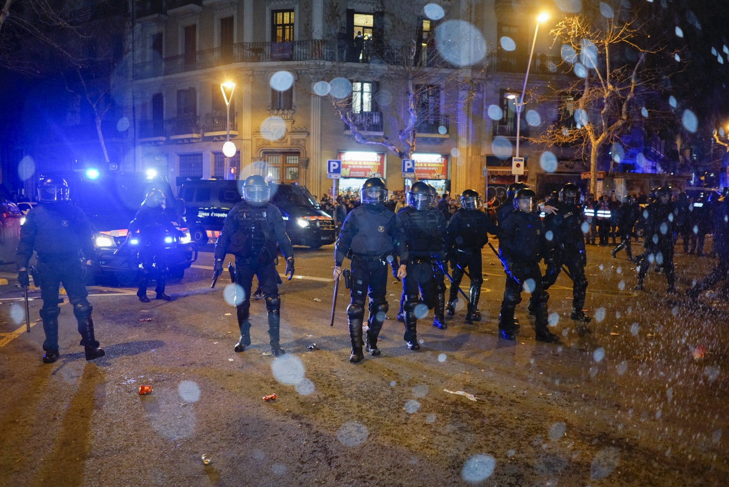 Mossos d'Esquadra on the night of exiled Catalan president Puigdemont's arrest in Germany, March. 26, 2018.