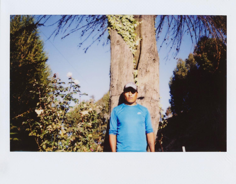 Hugo Ticona / MI TIERRA Tengo 24 años. He nacido en la Isla del Sol en la comunidad de Ch'alla. Ahora estoy estudiando computación y trabajo en la albañilería. Para mí la Isla del Sol es mi tierra, donde he nacido, y donde han nacido mis padres. Lo que más me gusta de vivir aquí es la flora la fauna y la comida y los alimentos naturales que comemos acá, todo natural. Mi trabajo era sobre mi familia, de mis hijos y de mi esposa y mi tierra como es mi día a día con ellos. Me gustó mucho montar la exposición, me he admirado de las fotos, que cada uno tenía su manera, su lugar, el poder ver toda la Isla del Sol entre todos. Mi favorita es la de mis hijos jugando en el árbol, como si estuvieran en las yungas, con las hojas y el tronco. Tuve una cámara hace años que no era así de moderna, sin pantalla. Me encanta tener una cámara ahora y poder hacer fotos. Me ha gustado mucho la experiencia de los talleres compartir con los participantes y con ustedes. Lo que más me ha gustado ha sido subir al cerro de Santa Bárbara y retratar los cerros entre todos. Todos hemos sacado un cerro sagrado, los explicamos. Elegí el cerro de cóndor Wachabi, es un cerro también sagrado, conocido antes que antes había un cóndor tenía su hueco allí y tenía sus crías allí. He aprendido de qué manera sacar las fotos, por donde entre el sol, la luz. Voy a seguir haciendo fotos en la Isla del Sol y otros lugares que visite. A mí me hace feliz todo lo que tengo aquí, mi familia, mis amigos, la comunidad.