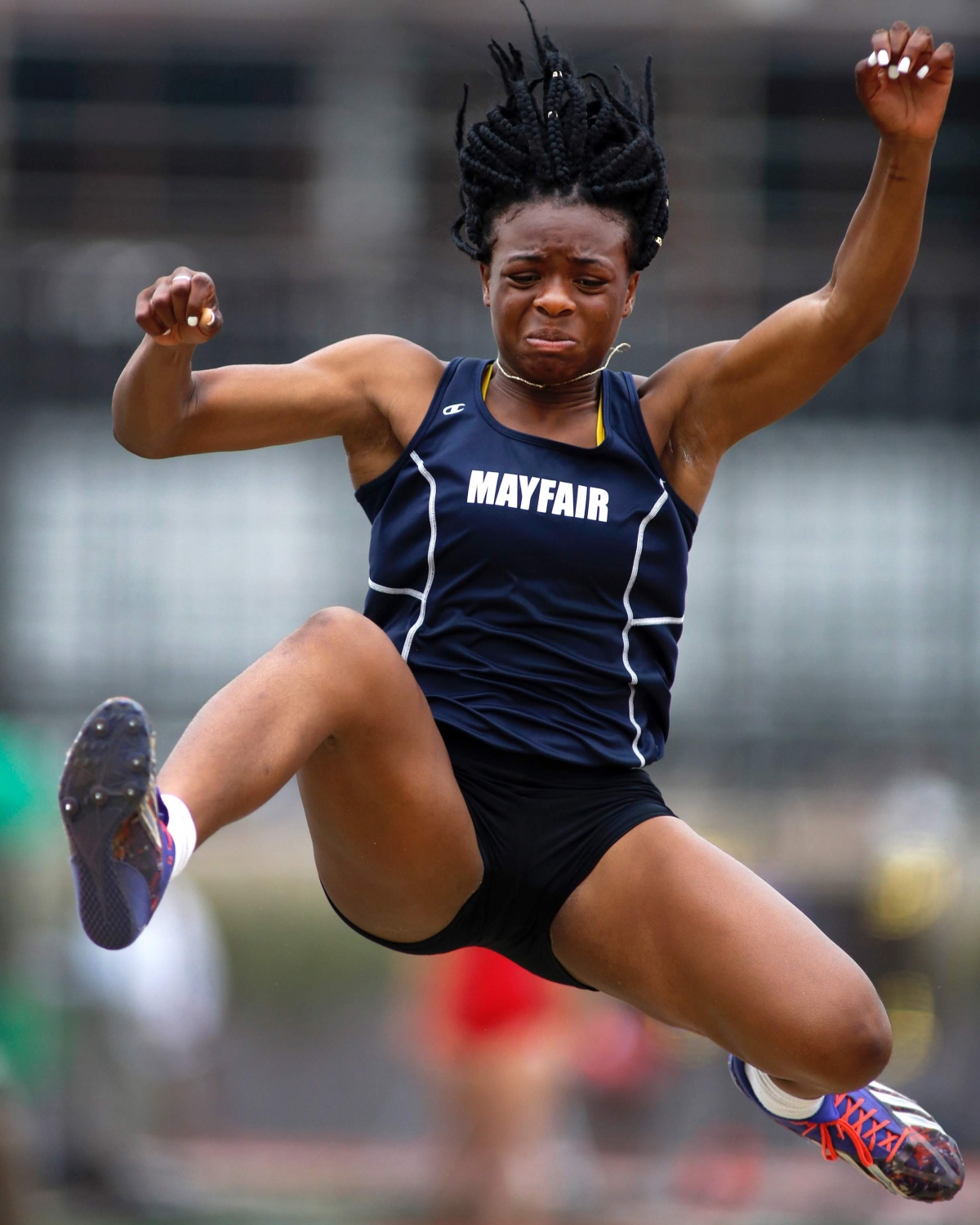 Mayfair's Joy Umeh braces for her landing in the division 3 long jump at the CIF-Southern Section Divisional Finals on May 19, 2018. ©2018 Katharine Lotze