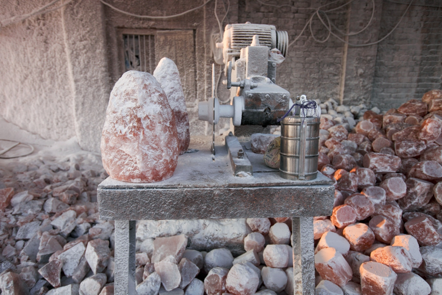 A salt carvers table at the end of his shift at Khewra Salt mine.