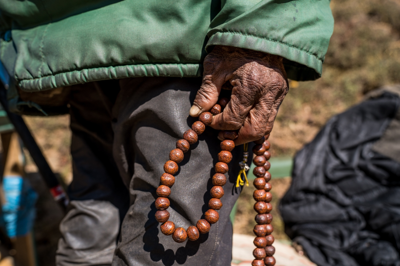 Buddhist prayer beads.