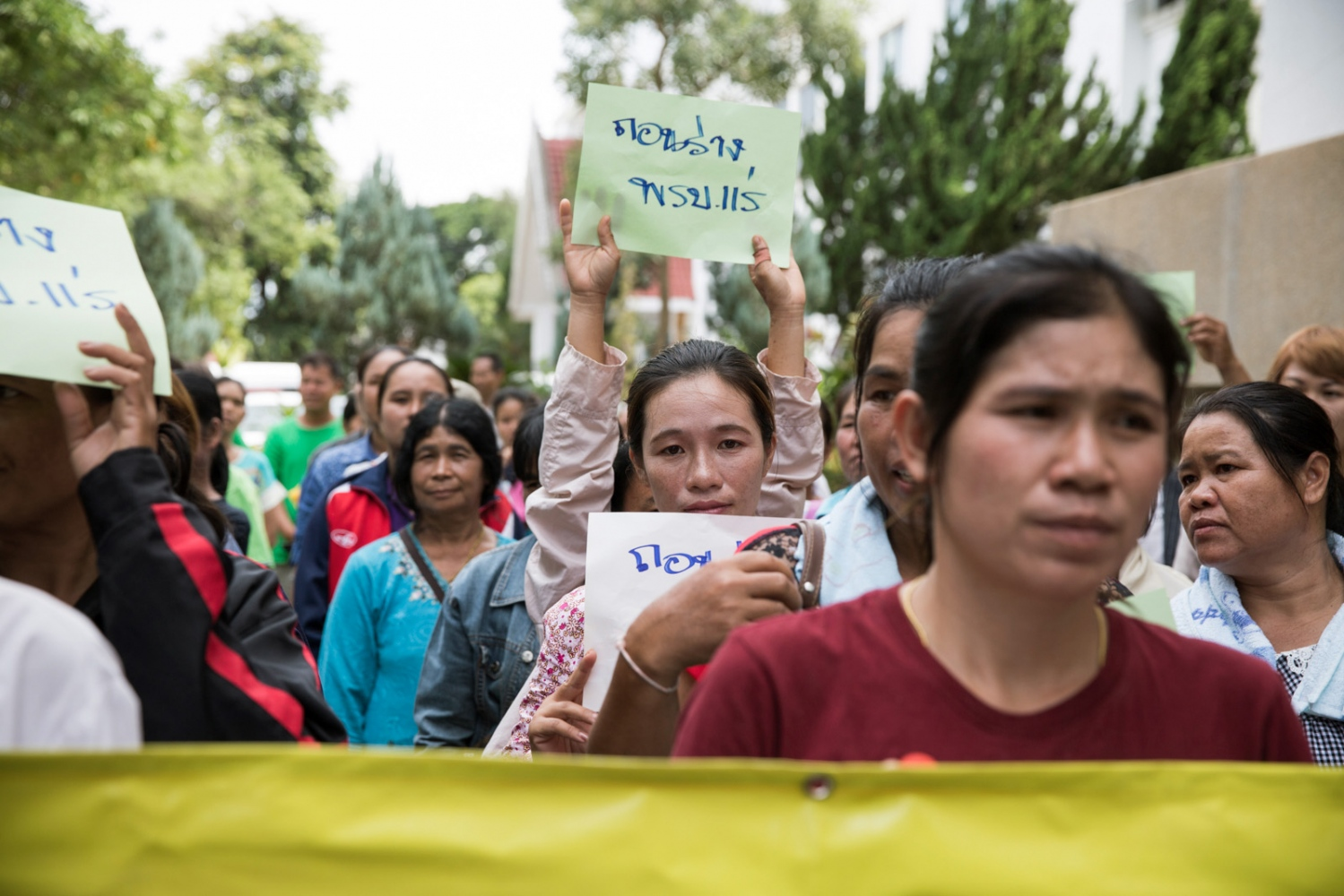 Women members of the Khon Rak Ban Kerd environmental group and the Rak Ban Han Naew Group, a community-based group of villagers from Pak Chom District opposing a coal mining project gather at City Hall in Loei city in July 2016. They are submitting a petition to oppose the drafted mining act which could restrict public participation in mining permissions and reduce the robust environmental safeguards which have to be approved before operating a mine.