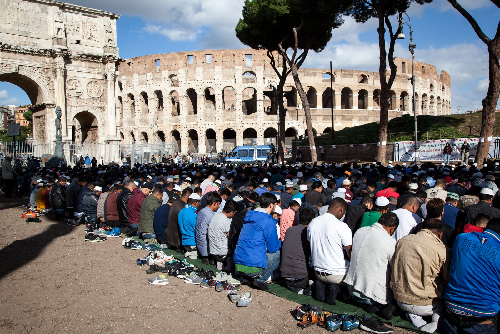 Oct. 21, 2016 - Hundreds of Muslims who lives in Rome are gathered for the Friday communal prayer in front of the Colosseum. This particular gathering was organized by some Imams to protest against the closure of a few mosque in the southeastern part of the city.