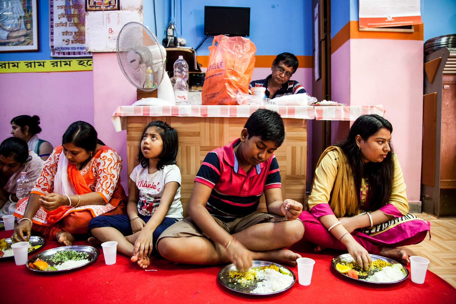 "Aug. 26, 2016 - On Krishna Janmashtami, the annual celebration for the birthday of the deity Krishna, some people eat their lunch in the ""Om Hindu Mandir"" temple of Torpignattara, a working class neighborhood in the southeastern suburbs of Rome."