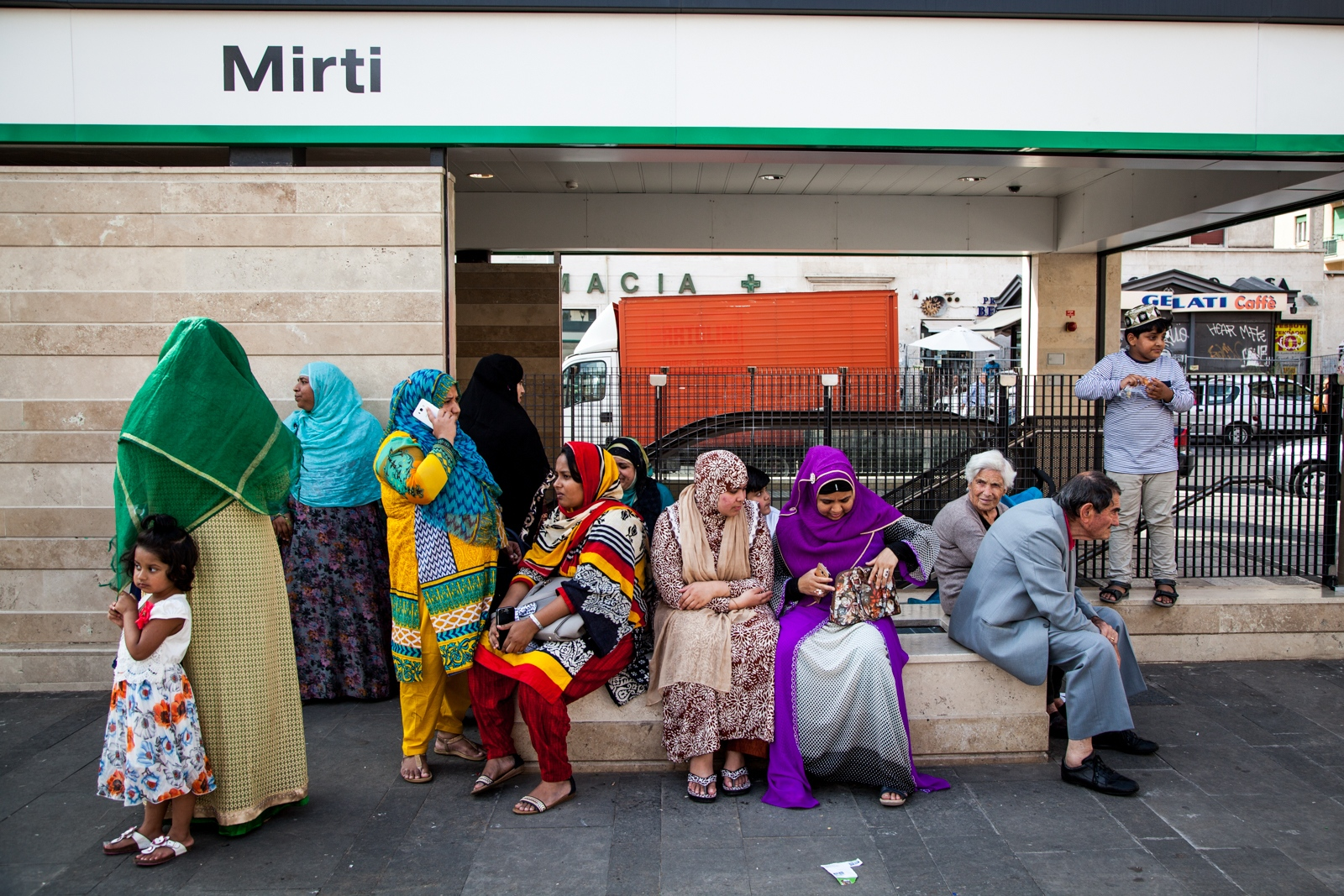 Sept. 30, 2016 - Muslim women wait for the beginning of the Friday communal prayer  in Largo Preneste, a square in the southeastern neighborhood of Torpignattara. In the past few months the Muslim community of southern Rome, has organized public prayers on Friday to protest against the closure of a few mosque in different neighborhoods.