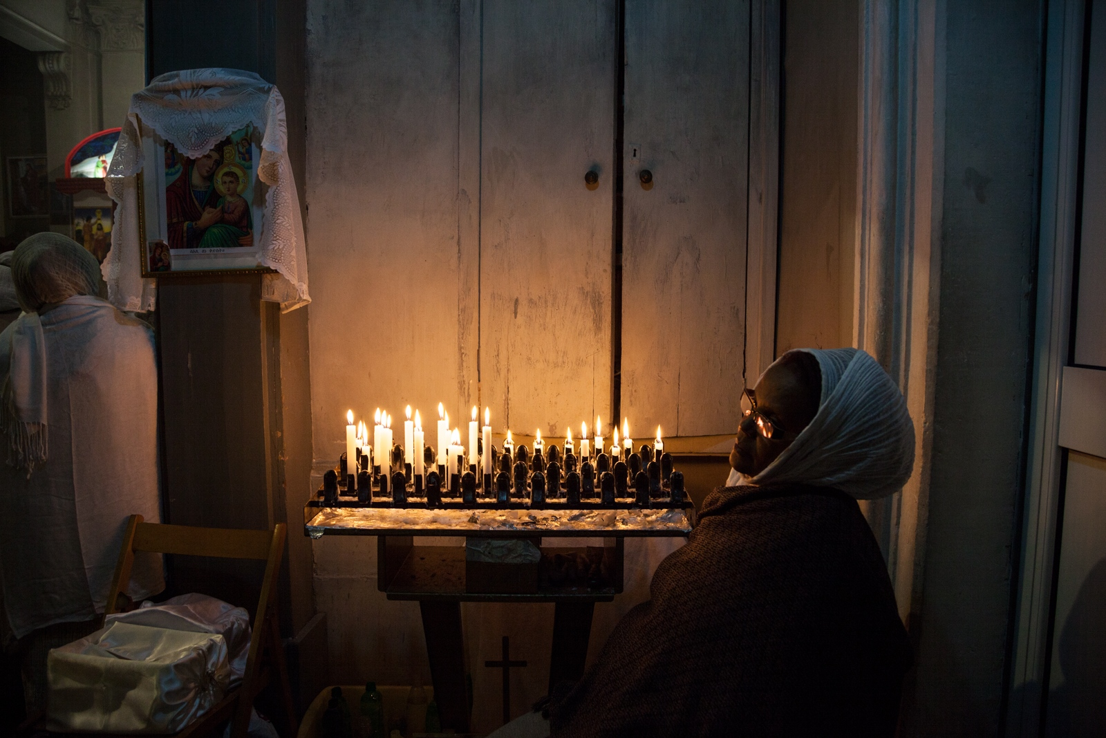 Jan. 6, 2015 - Inside the Eritrean Orthodox Tewahdo Church in Piazza San Salvatore in Campo, downtown Rome, a woman takes part to the celebration for Orthodox Christmas Day.