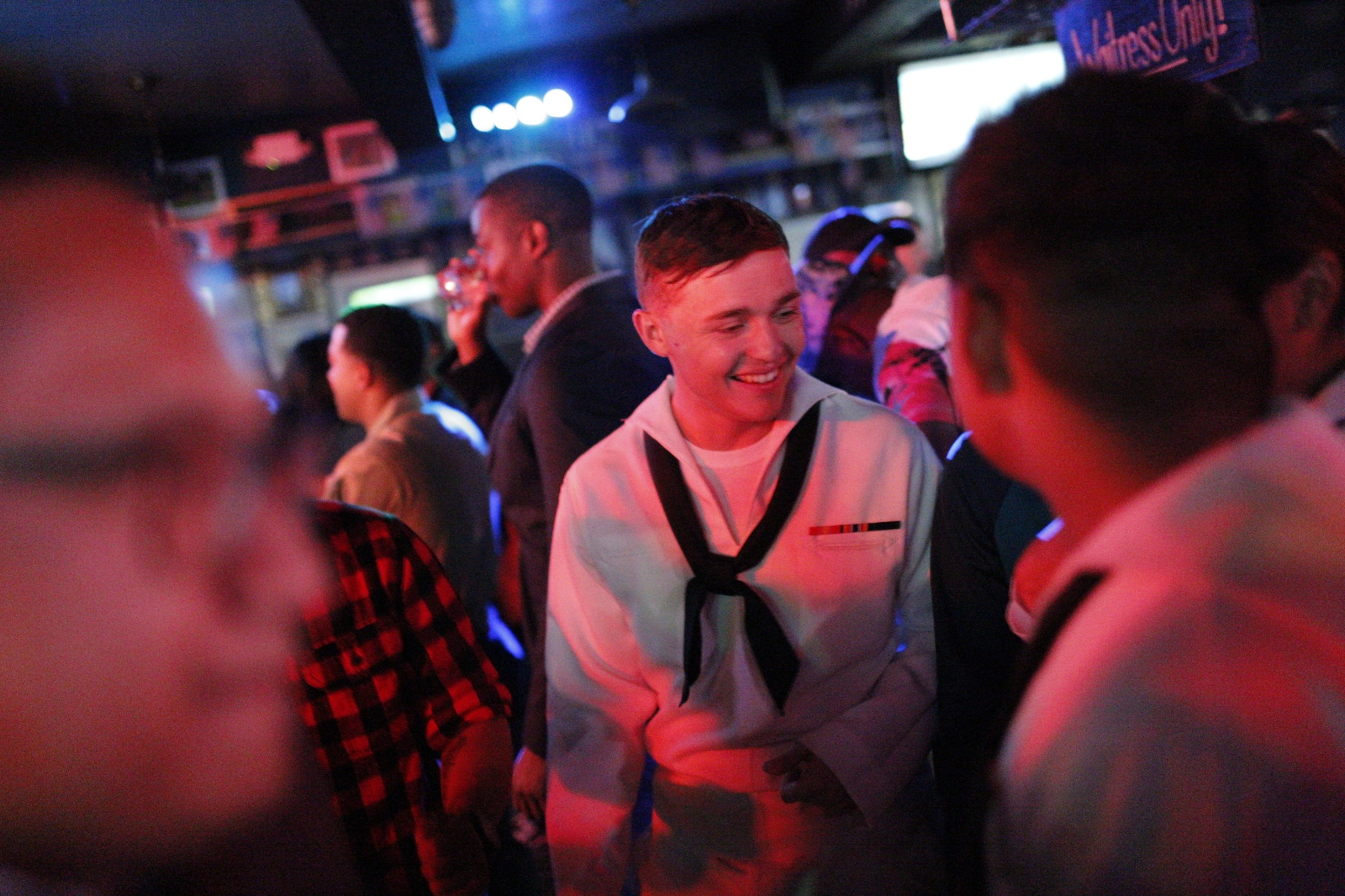 The last night of Fleet Week in New York City's Times Sq. Sailors and Marines party till the curfew until they have to be back onboard ship by 2 AM. May 27, 2018. (Kevin C Downs/Agence Cosmos)