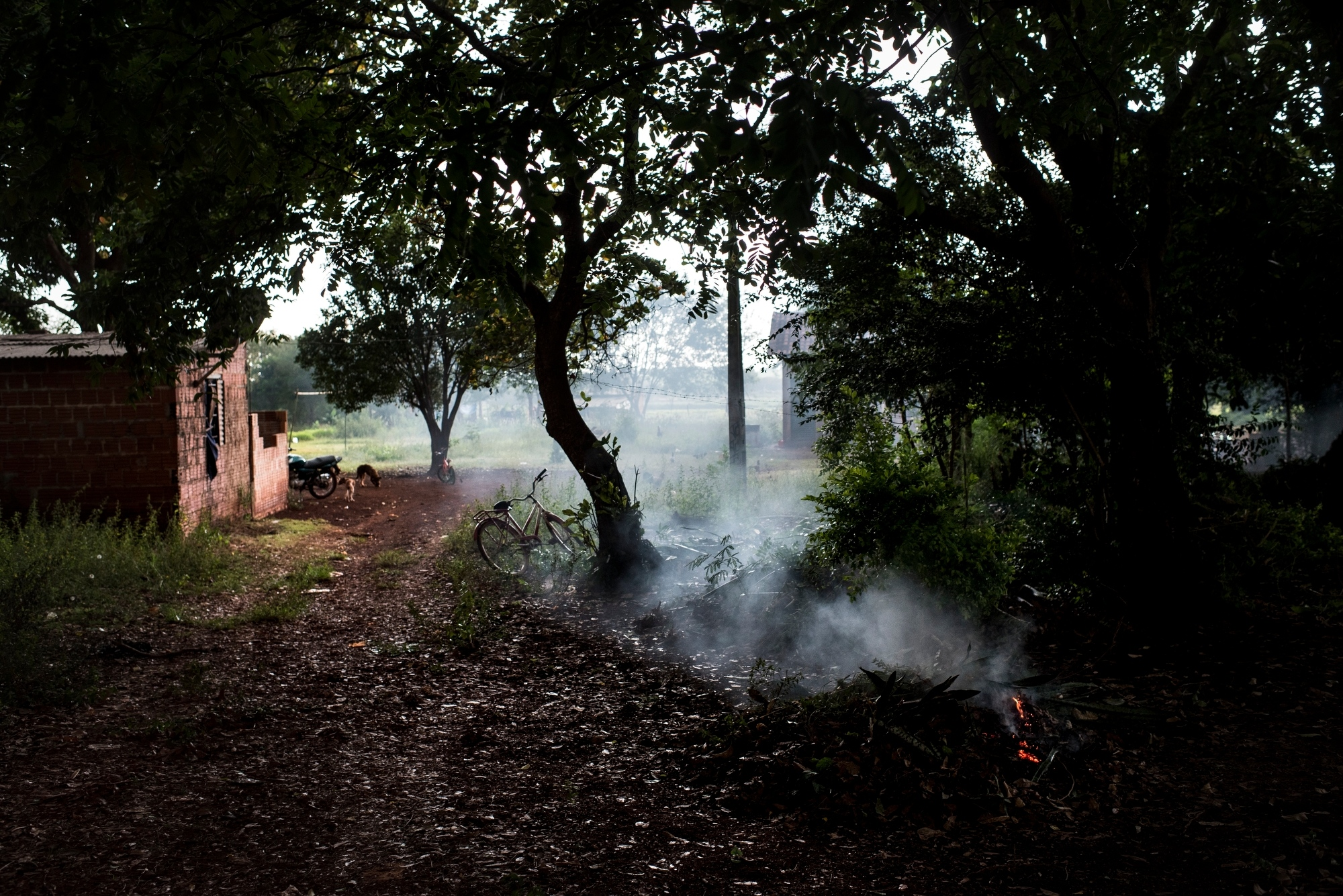 November 28, 2016.  A leaf fire burns in the yard where Onildo de Oliveira was found hanging from in the Dourados Guarani-Kaiówa Reservation in Matto Grosso Du Sul, Brazil. Oliveira committed suicide the previous week, he had spoken about his inability to get work and support his four children, although he had never mentioned thoughts of suicide. He was 39 years old.