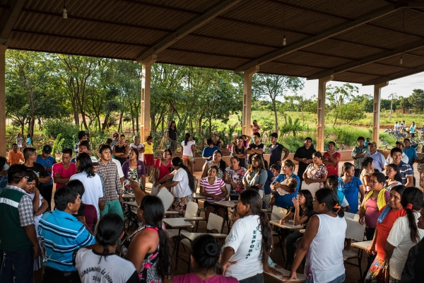 November 29, 2016.  Residents meet to discuss whether they should block the road in protest to the fact that they haven't had water for three months after a well pump broke in the Guarani-Kaiowa Amambai Indigenous Reserve in Matto Grosso Du Sul, Brazil.