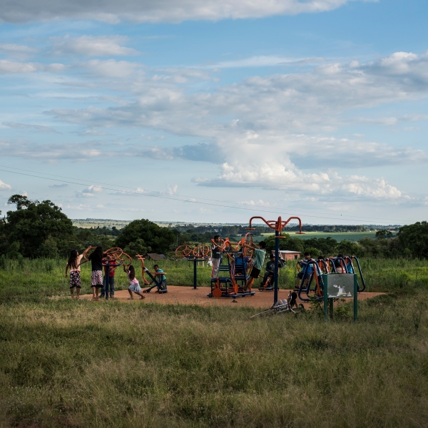 November 29, 2016.  Children play in the Guarani-Kaiowa Amambai Indigenous Reserve in Matto Grosso Du Sul, Brazil.