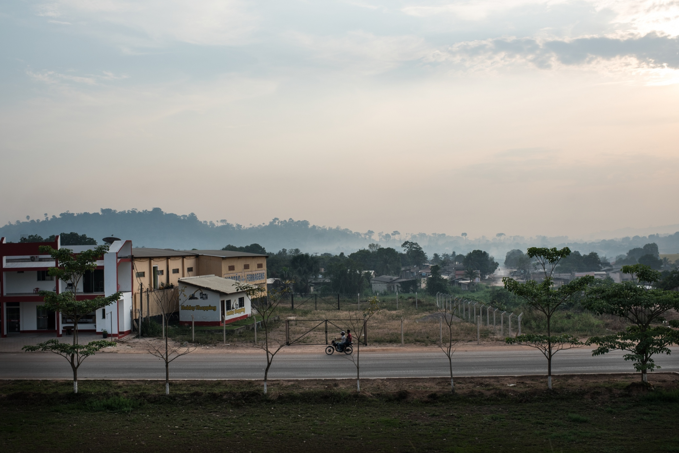Smoke hangs over Novo Progresso in the early moring in Para, State, Brazil.