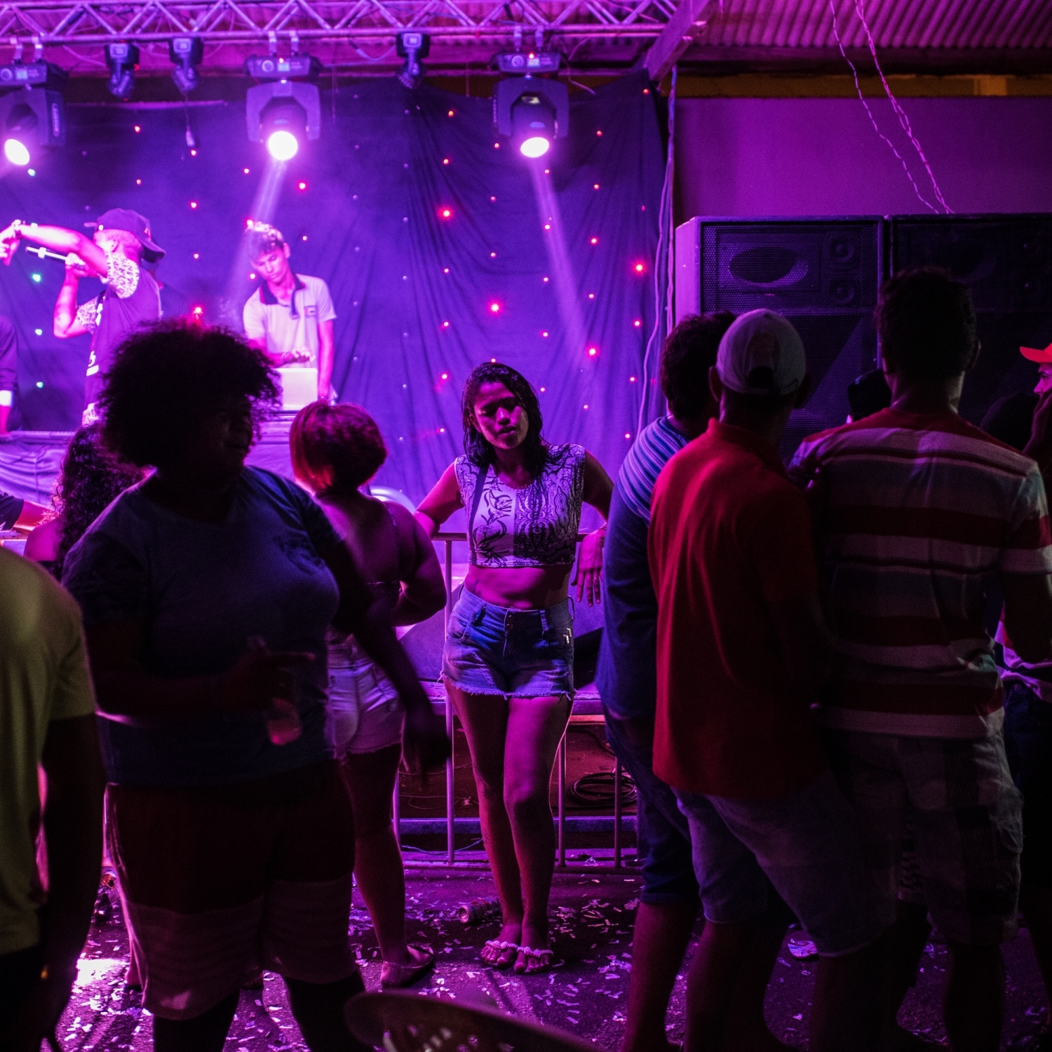 2016. A young woman at a nightclub in the city of Altamira.  In the heart of the Amazon, on the Xingu River, Altamira has been through a number of economic booms, the most recent being from the construction of the Belo Monte Dam. With the influx of money and people the urban culture is fortified.  Aaron Vincent Elkaim
