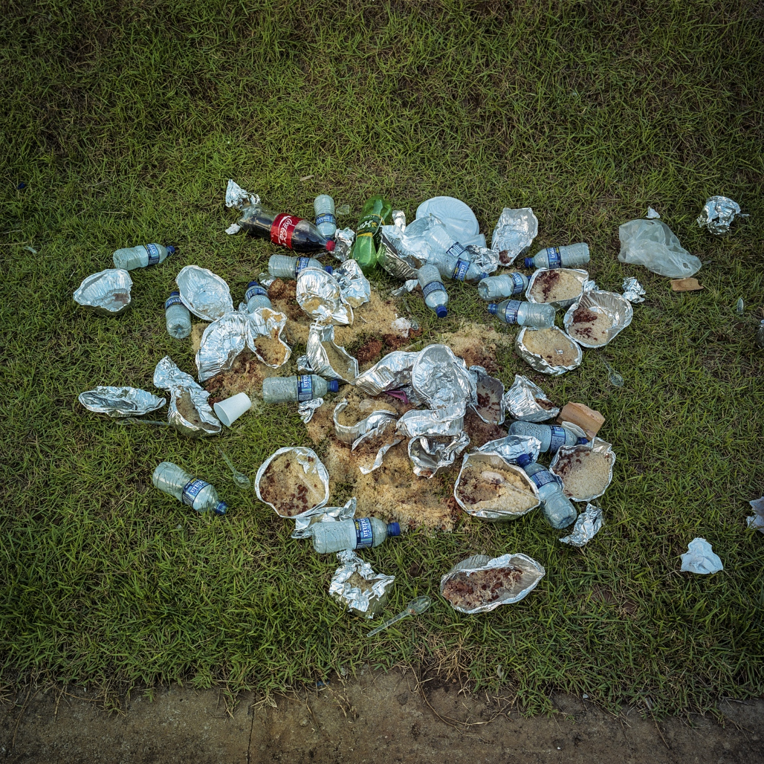 2016. Discarded food contaners after an indigenous occupation of the offices of Norte Energia, the company building the Belo Monte Dam, in the resettlement district of Jatoba in the city of Altamira.  Occupations and protests are a constant part of the indigenous communities fight for compensation and the implementation of promised programs from the company. /Aaron Vincent Elkaim