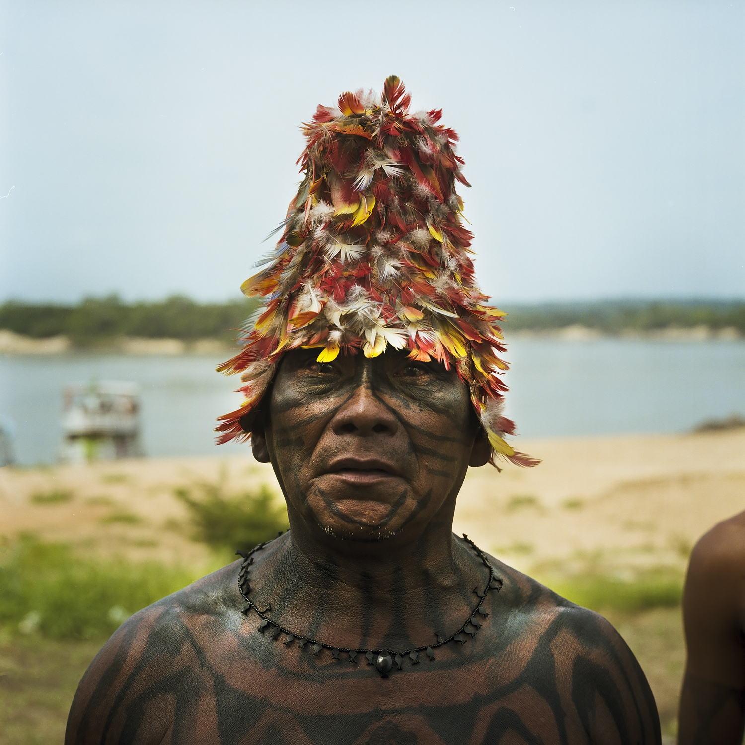 2014. A Mundurku chief during The 'Caravan of Resistance' protest in the village of São Luiz do Tapajós to resist government plans to construct a mega dam that would flood much of their territory on the Tapajos River in Para State, Brazil. In 2016 the Saõ Luiz Do Tapajos Dam project was suspended due the constitutionality of flooding Indigenous lands.