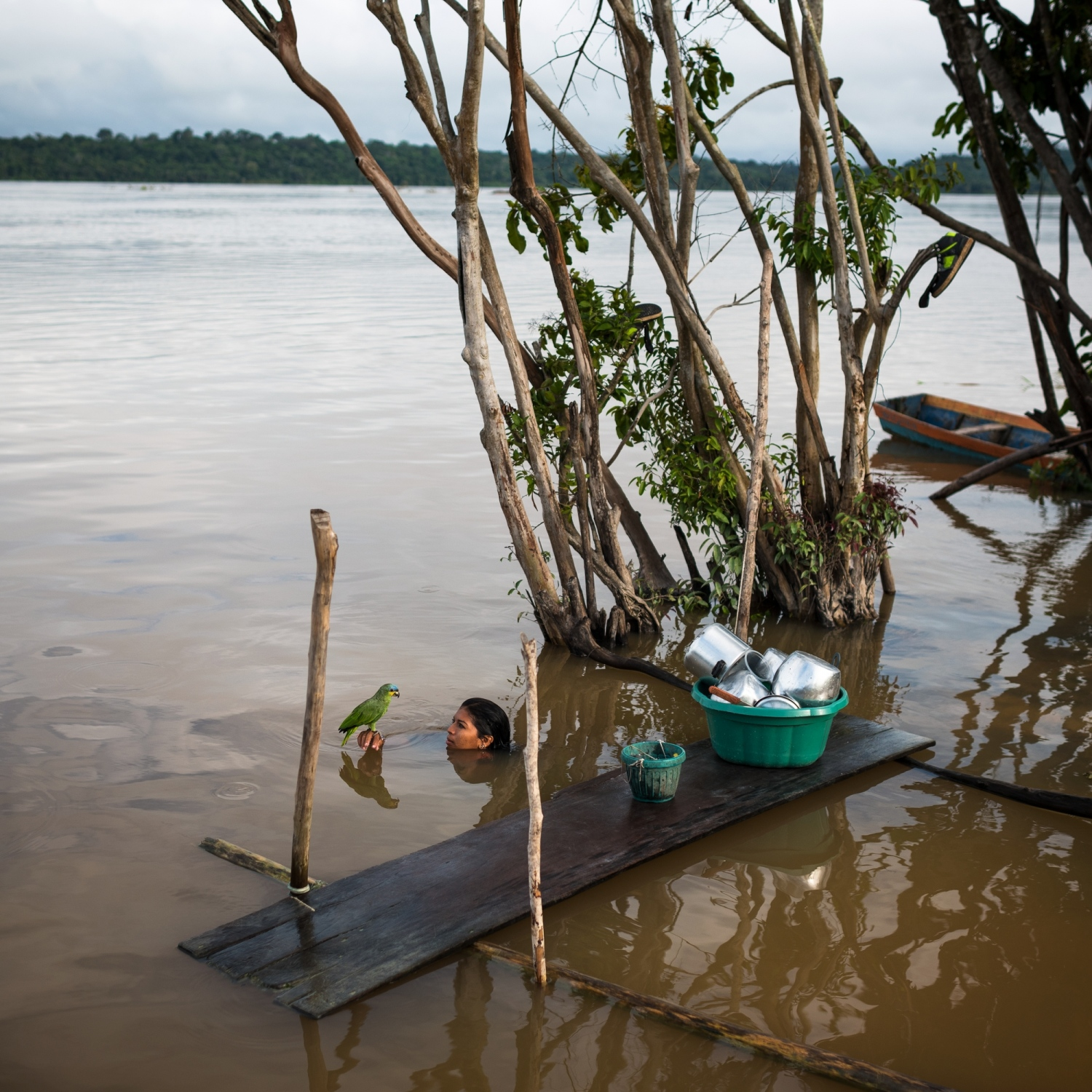 Lucicleide Kurap of the Munduruku village of Dacé Watpu has a moment with a pet parakeet after washing dishes in the Tapajos River in Para State, Brazil.   /Aaron Vincent Elkaim