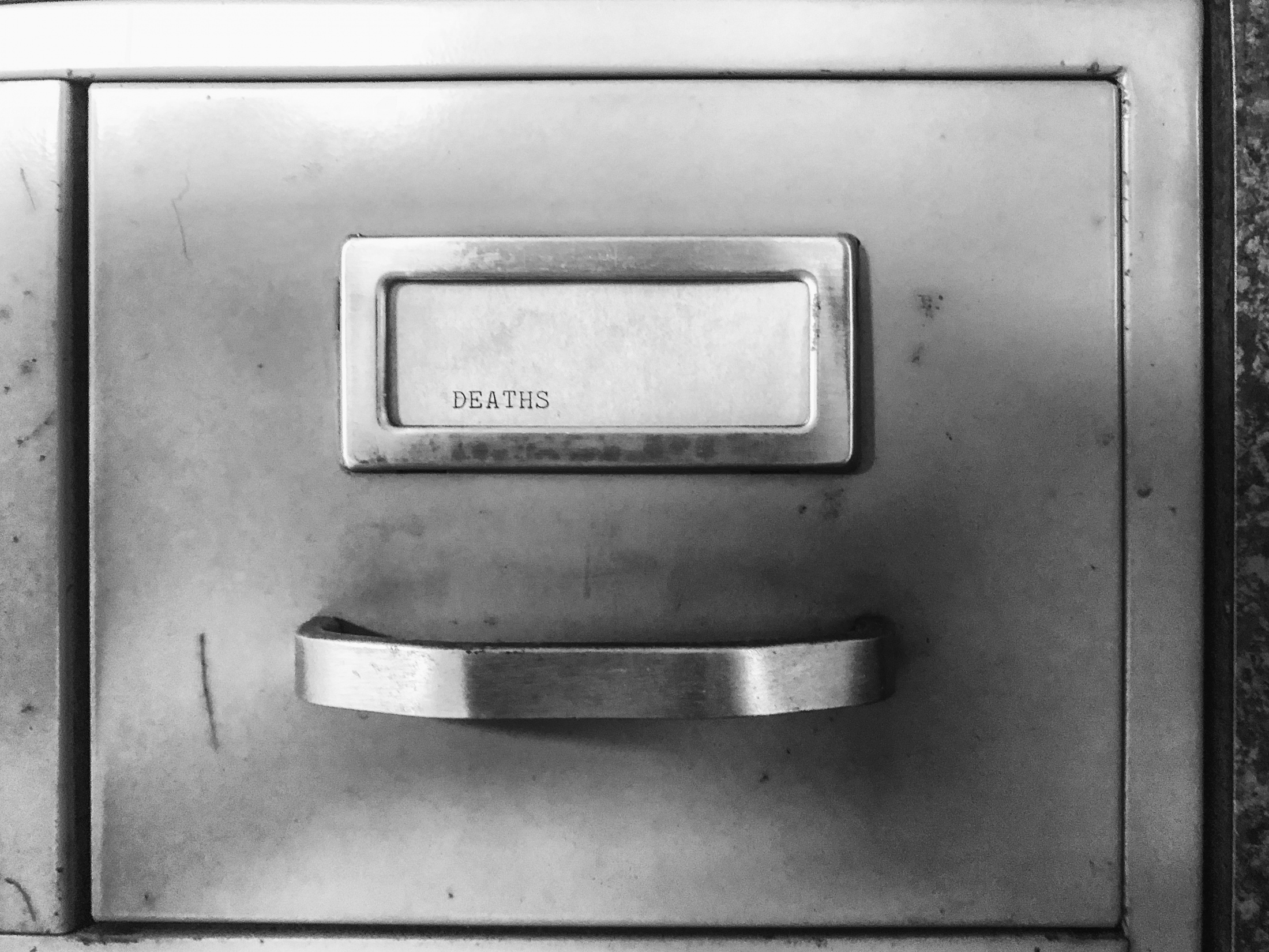 Card on a filing cabinet at an abandoned Union office in Batimore.