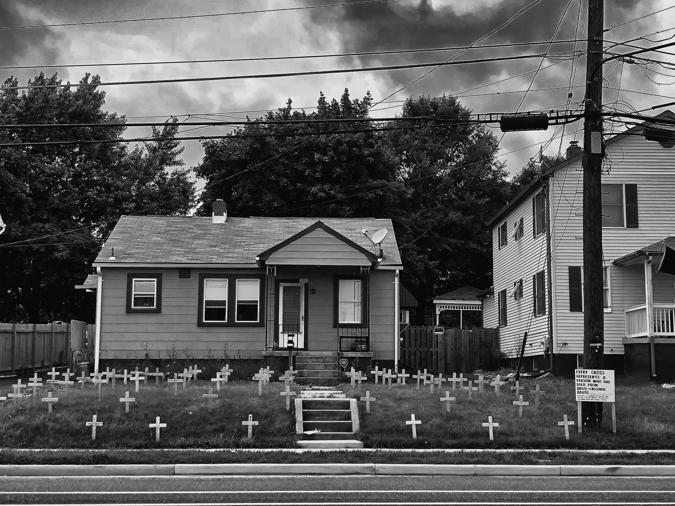 "House a mile from the former steel mill at Sparrows Point, 2018. ""The rise of heroin and fentanyl have led to rapid increases in overdose deaths in states like West Virginia, Ohio...and Pennsylvania.""-Vox, 2017"