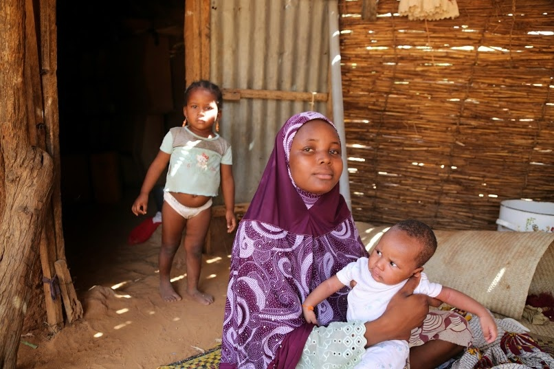 Nafeesa, 16, gave birth to her youngest son three months ago. She married at 14 and had her first child, a daughter, 10 months later. She and her children live with her sisters and mother and husband's family in Fillingue.