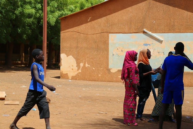 Students gather in the courtyard of Lycée Issa Korombe, the French high school in Niamey.