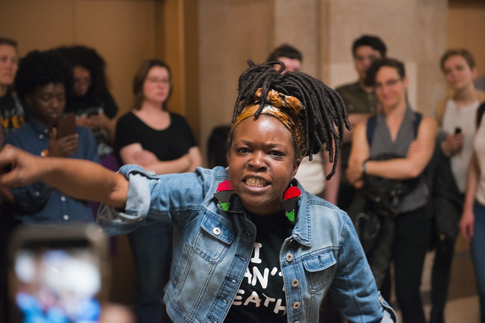 Photography image -  05.23.18  No Cop Academy activist at city hall.