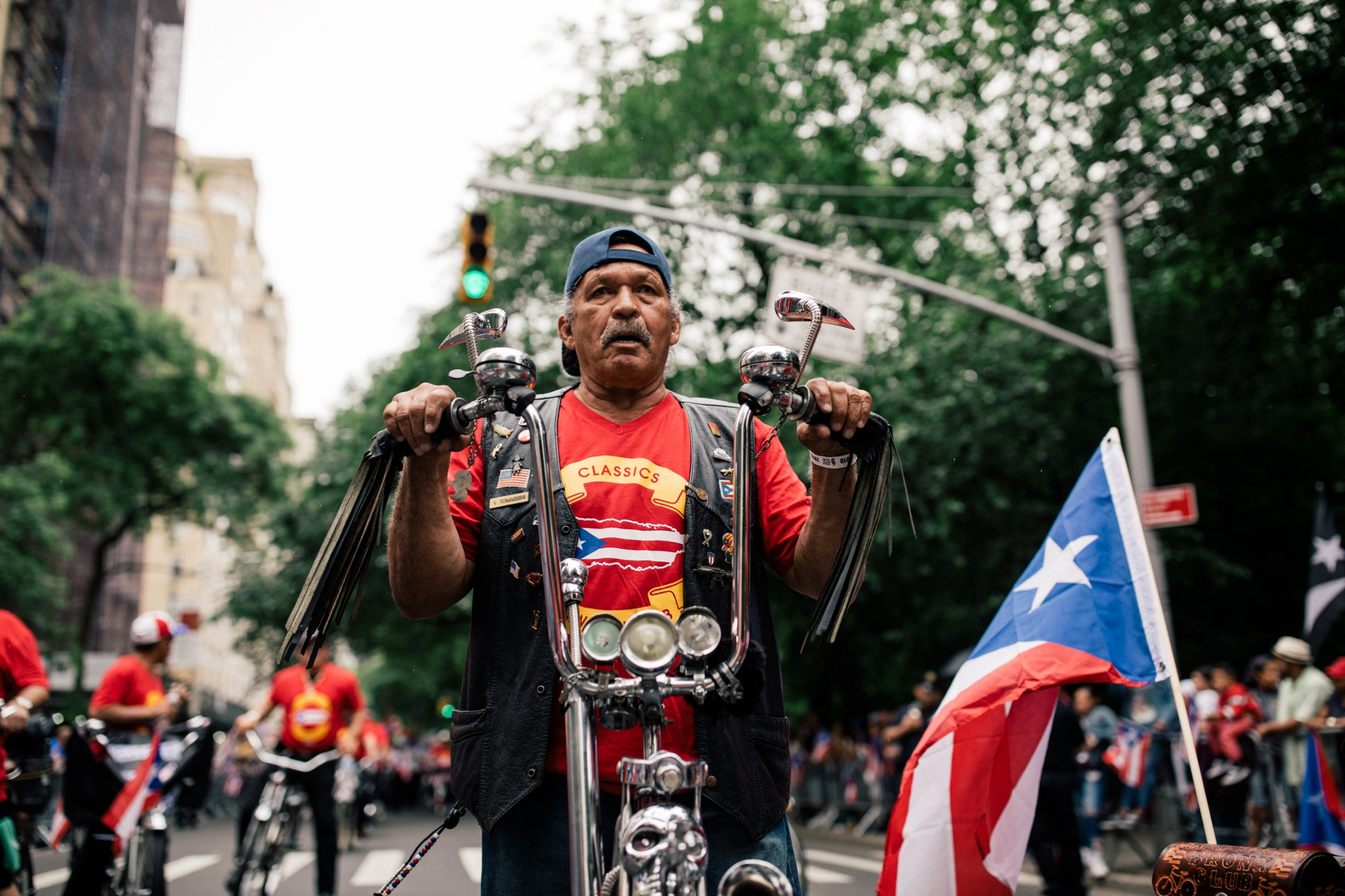 Members of the Bronx Classic Bike Club display their custom bikes at Fifth Avenue and 76th Street.