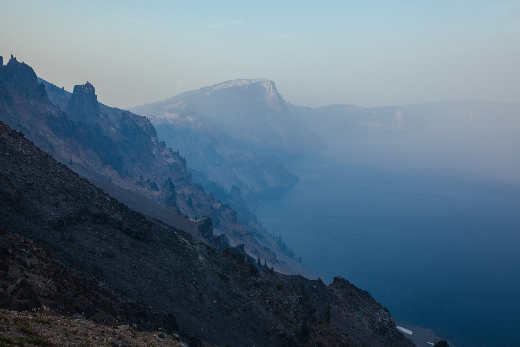 Thick smoke from nearby wildfires covers Crater Lake, Crater Lake NP, OR.