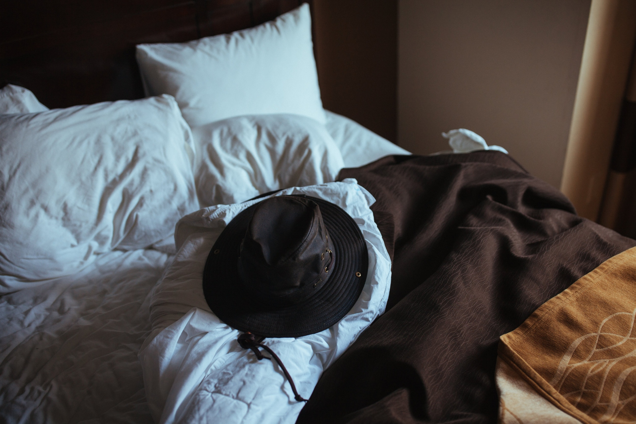 Hat and bed, Portland, OR.