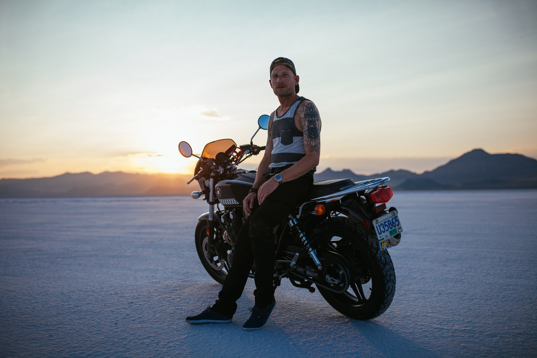 Bonneville Salt Flats International Speedway, UT; Portrait of Brian before he completed the final stretch of his road trip that began in Vancouver, Canada and ended in Denver, Colorado.