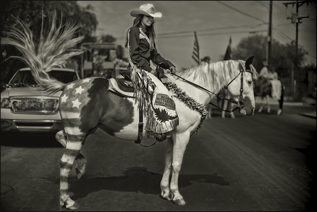 Rodeo Princess and her horse which is painted like an USA flag, Benson, Arizona. July 4, 2018