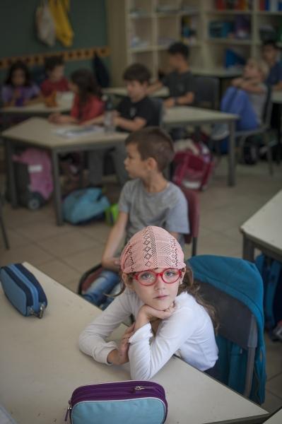 A student in the 50|50 mixed Arab Jewish classroom at Kfar Qara Hand in Hand School, Israel.