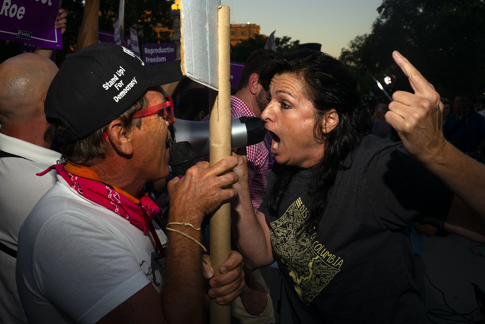 Pro-life and a anti-abortion protesters get in each others faces during a rally at the U.S. Supreme Court building.