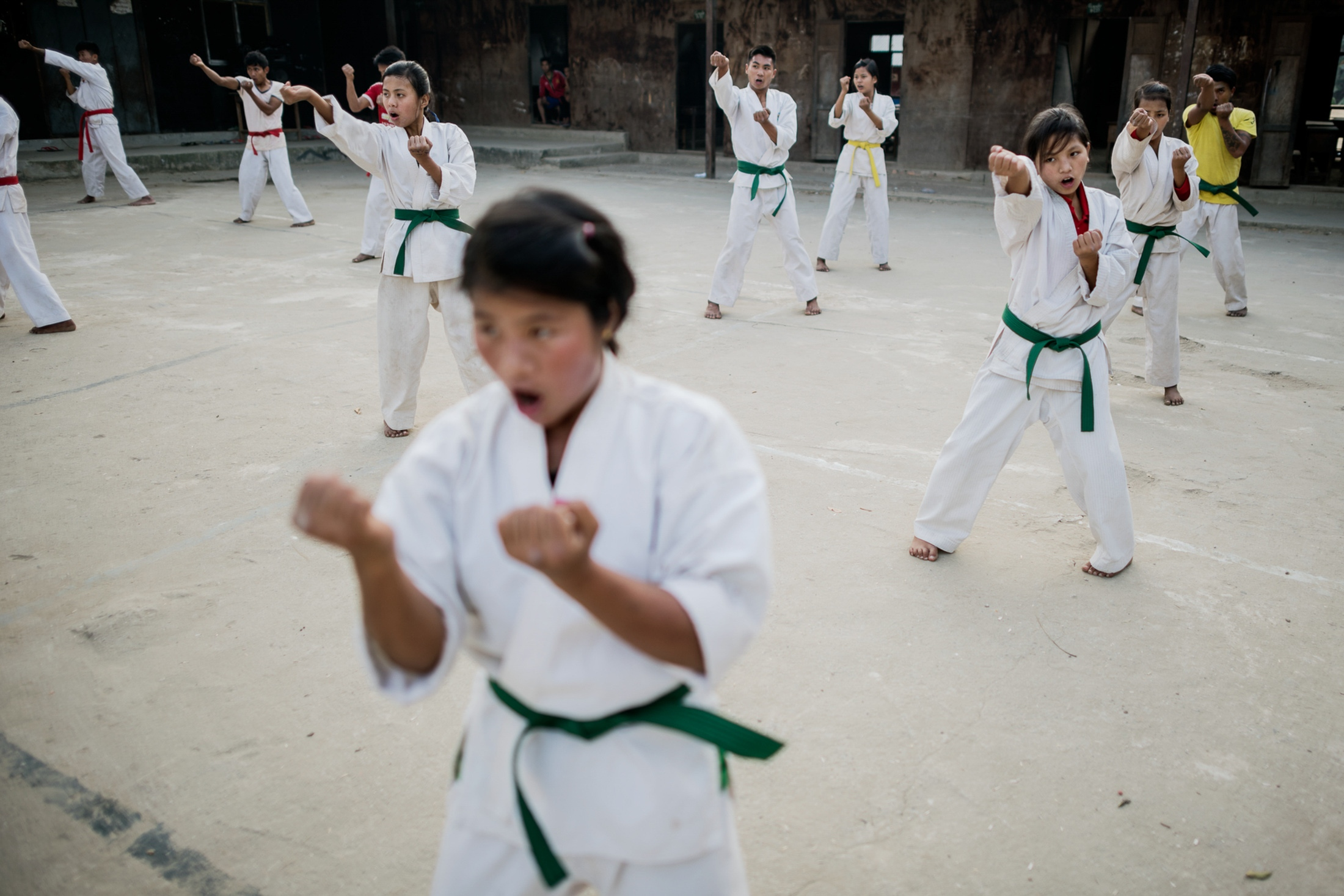 Children practicing Karate after school in Je Yang IDP camp.
