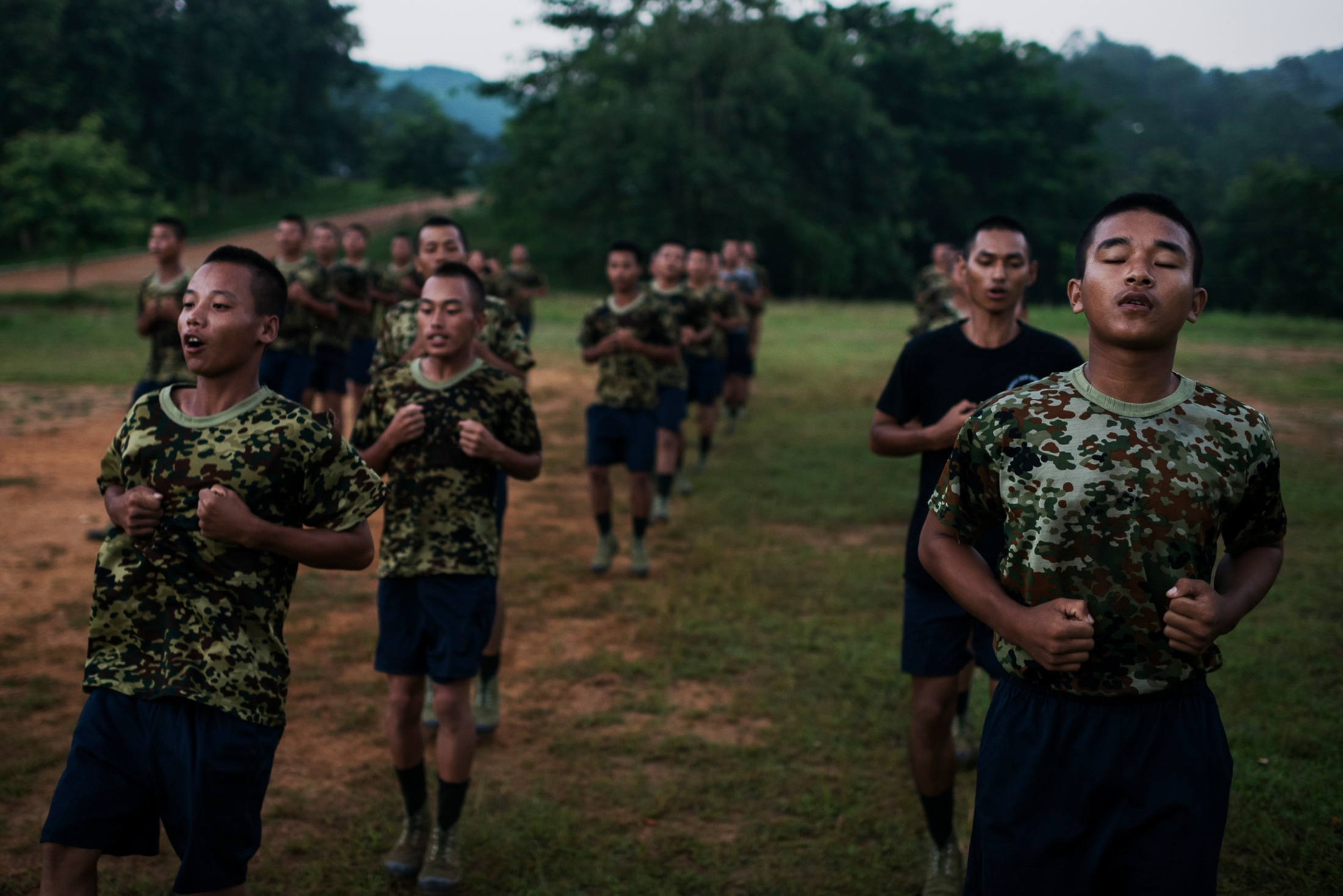 Recruits of the KIA National Service during daily morning exercise in Laiza, the KIA headquarters in Kachin State, Myanmar.