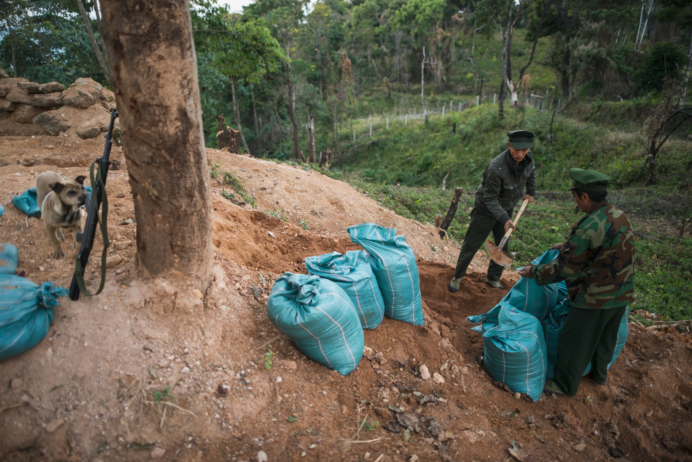 Aung Lun and Naw San, Kachin Independence Army Soldiers, reenforcing their positions with sandbags at a frontline outpost just 1 km from the Burma Armys nearest outpost. Manji the dog is inspecting the rifles.