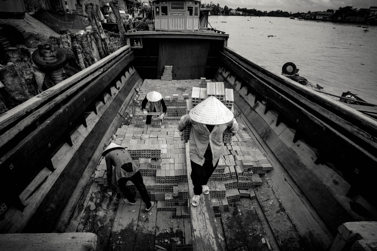 Photography image -  Brick Barge, Can Tho, Mekong Delta