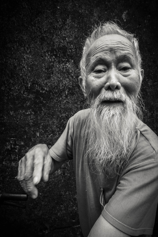 Photography image -  Old Man, Tam Coc, Vietnam