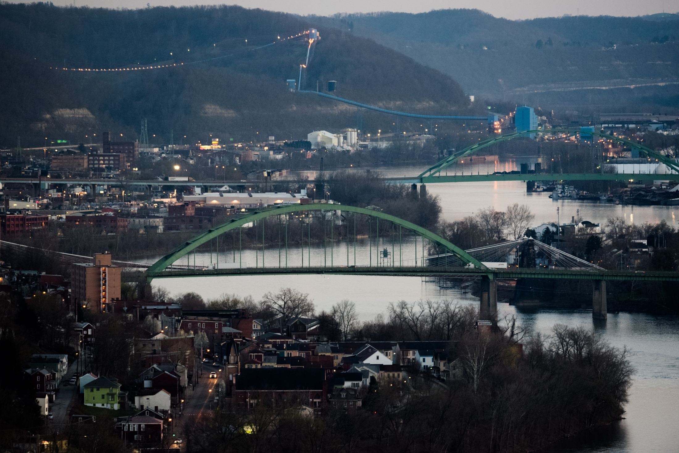 Dusk falls on Wheeling, West Virginia.
